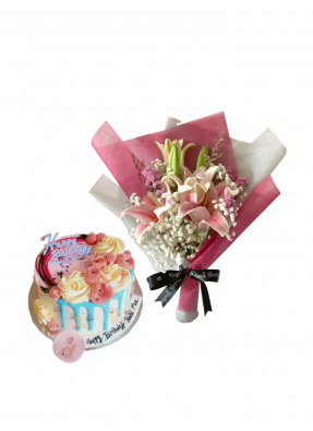 Baby Breath and Pink Lily Bouquet with Cake Flower On Top