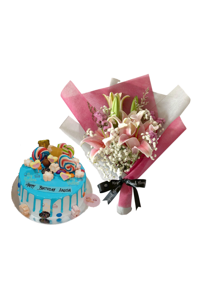 Baby Breath and Pink Lily Bouquet with Candy Cake