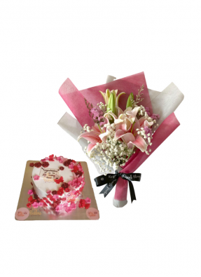 Baby Breath and Pink Lily Bouquet with Edible Flower Cake