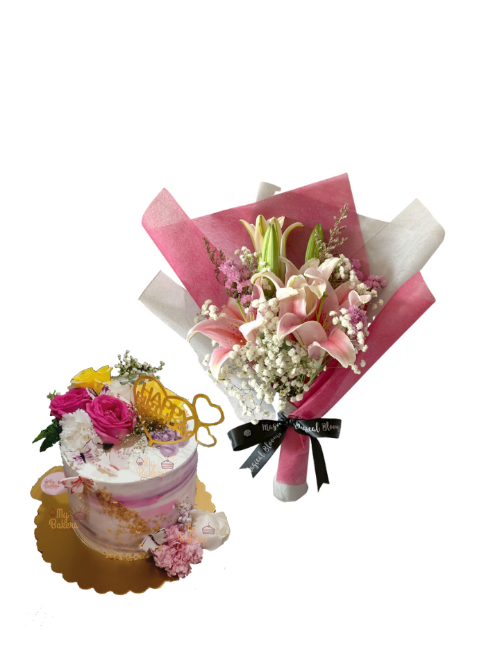 Baby Breath and Pink Lily Bouquet with Fresh Flowers Cake