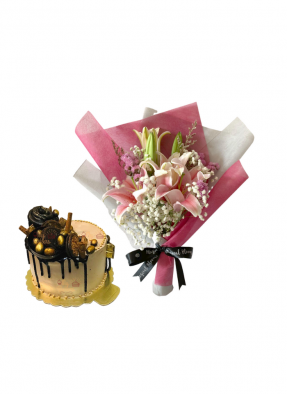 Baby Breath and Pink Lily Bouquet with Golden Cake