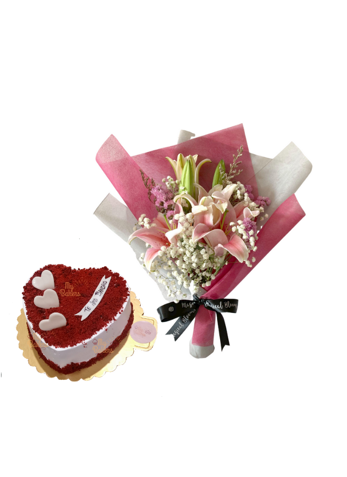 Baby Breath and Pink Lily Bouquet with Heart Shaped  Red Velvet Cake