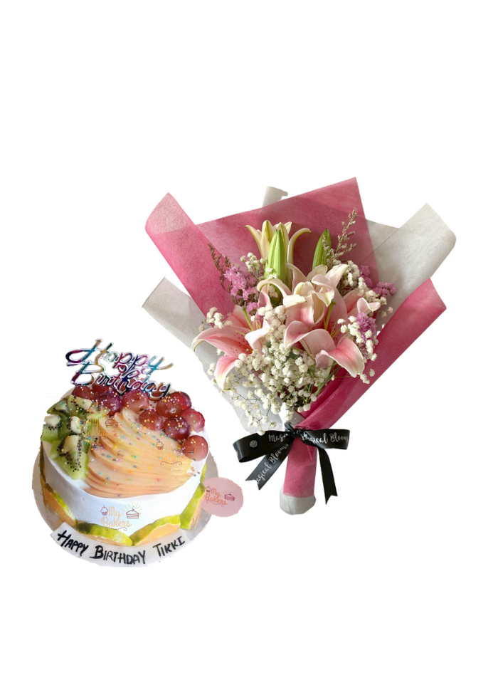 Baby Breath and Pink Lily Bouquet with Mix Fruit Cake