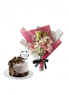 Baby Breath and Pink Lily Bouquet with Special Birthday Cake