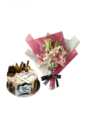Baby Breath and Pink Lily Bouquet with Special Cake for Mom