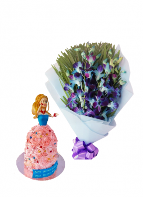 Blue Orchid Bouquet with Barbie Doll Cake