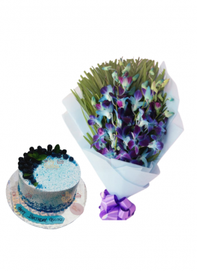 Blue Orchid Bouquet with Blue Berry Cake