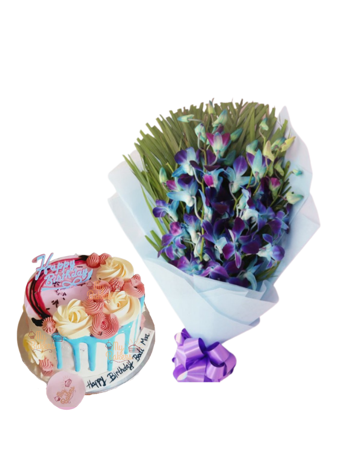 Blue Orchid Bouquet with Cake Flower on Top