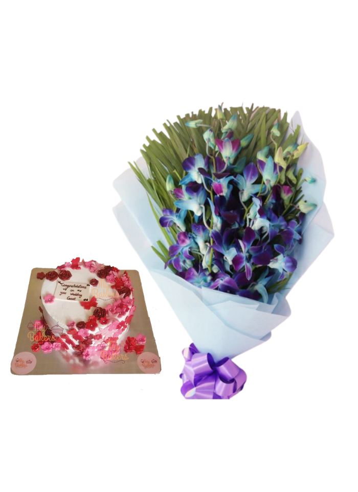 Blue Orchid Bouquet with Edible Flower Cake