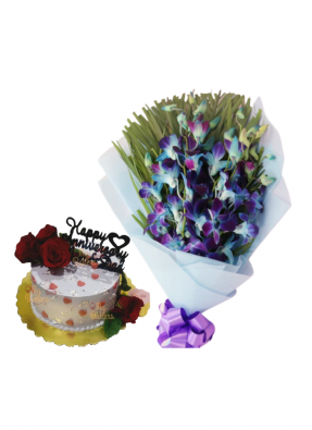 Blue Orchid Bouquet with Flower Cake