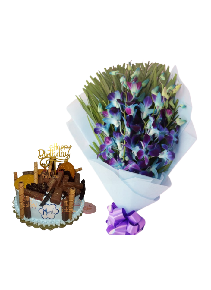 Blue Orchid Bouquet with Lots of Chocolate Cake
