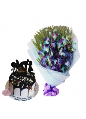 Blue Orchid Bouquet with Love Chocolate Cake
