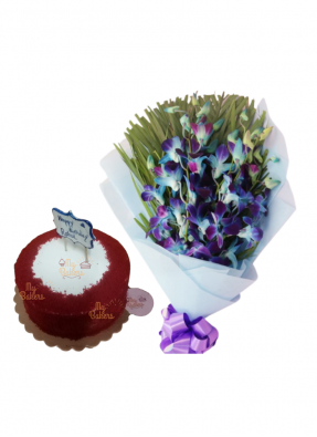 Blue Orchid Bouquet with Red Velvet Cake
