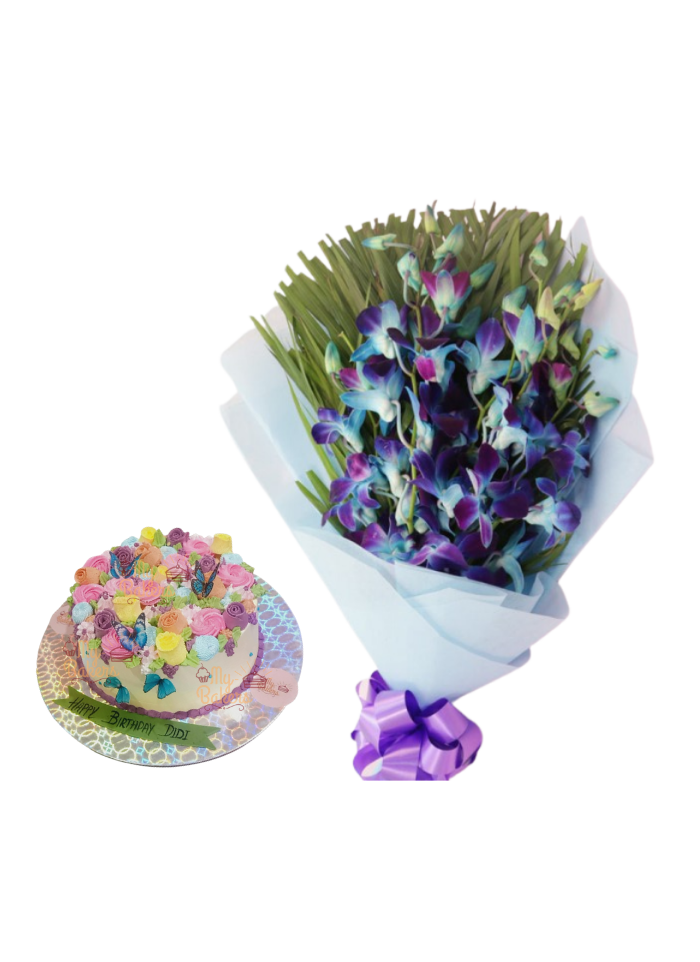 Blue Orchid Bouquet with Special Edible Flowers and Butterfly Cake