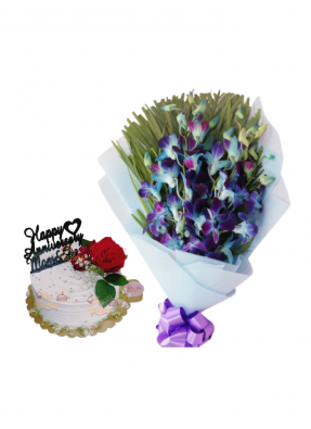 Blue Orchid Bouquet with Special Flower Cake