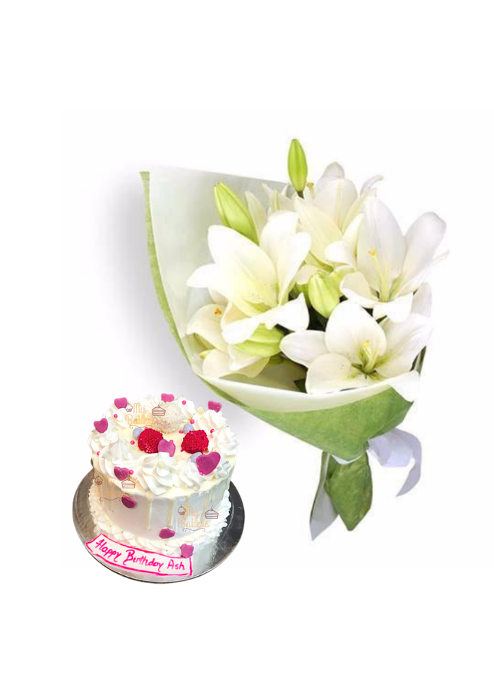Easter Lily Bouquet with Birthday Cake