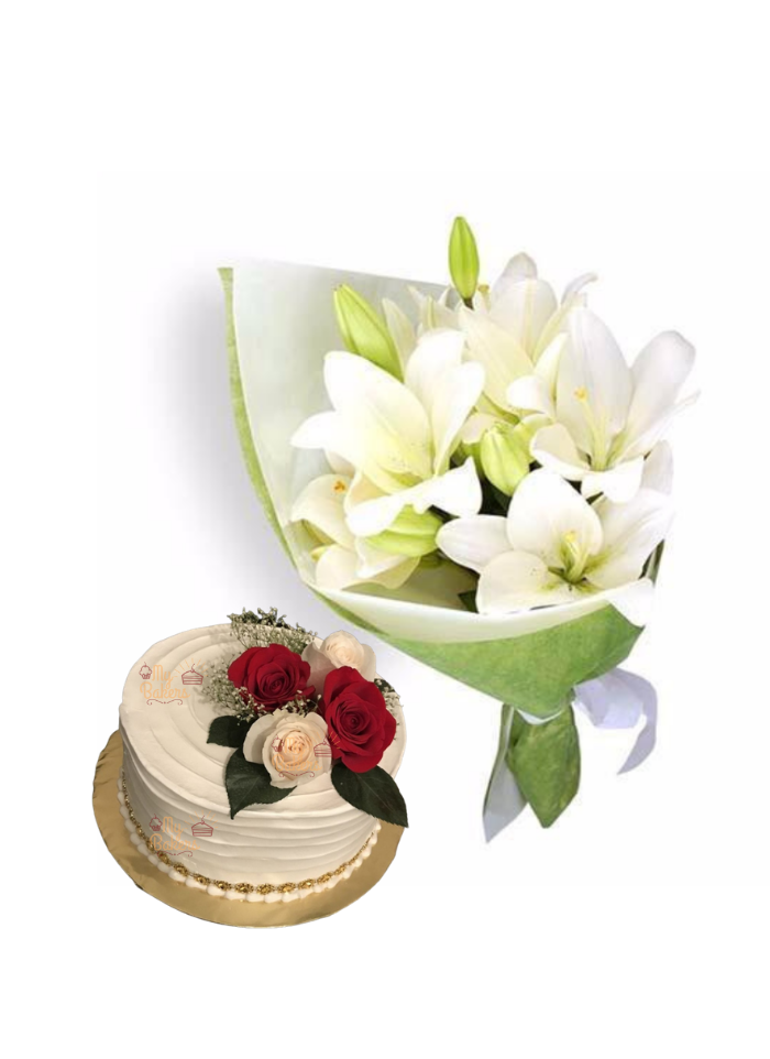 Easter Lily Bouquet with Cake for Loved
