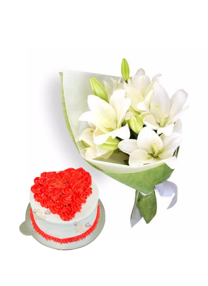 Easter Lily Bouquet with Cake Heart Shape