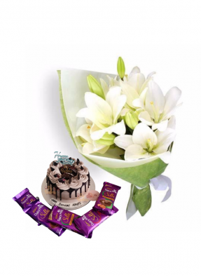 Easter Lily Bouquet with Chocolate Birthday Cake and Chocolate