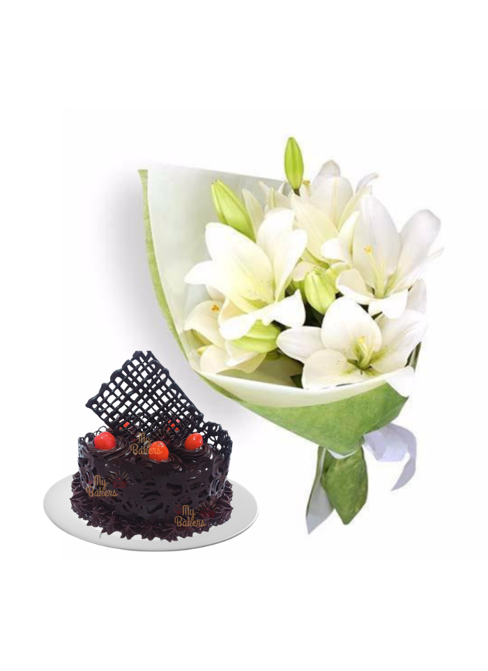 Easter Lily Bouquet with Chocolate Cake Designer