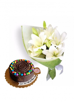 Easter Lily Bouquet with Chocolate Truffle Cake