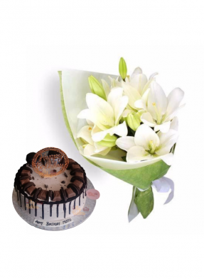 Easter Lily Bouquet with Exclusive Chocolate Oreo Cake