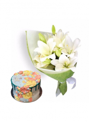 Easter Lily Bouquet with Flower Design Cake