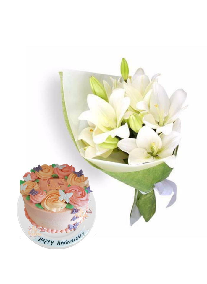 Easter Lily Bouquet with Special Edible Butterfly Cake