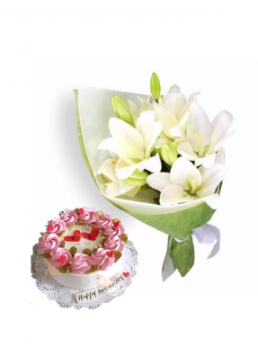 Easter Lily Bouquet with Vanilla Cake