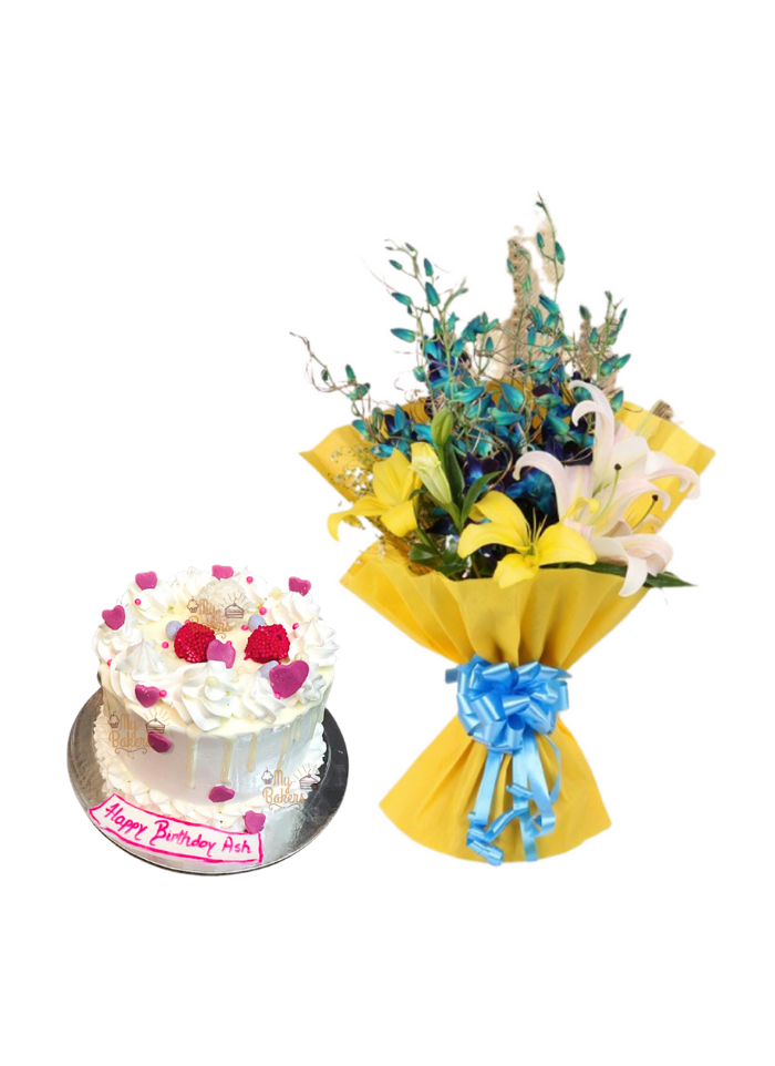 Lily and Orchid Bouquet with Birthday Cake