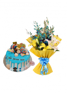 Lily and Orchid Bouquet with Candy Cake