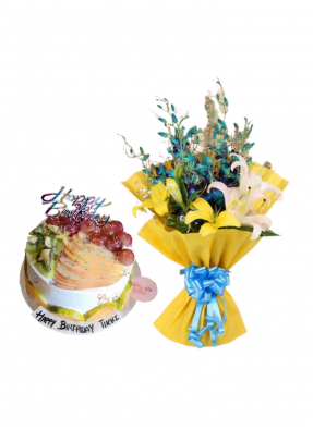 Lily and Orchid Bouquet with Mix Fruit Cake