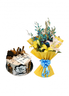 Lily and Orchid Bouquet with Special Cake for Mom