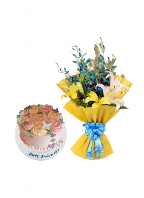 Lily and Orchid Bouquet with Special Edible Butterfly Cake