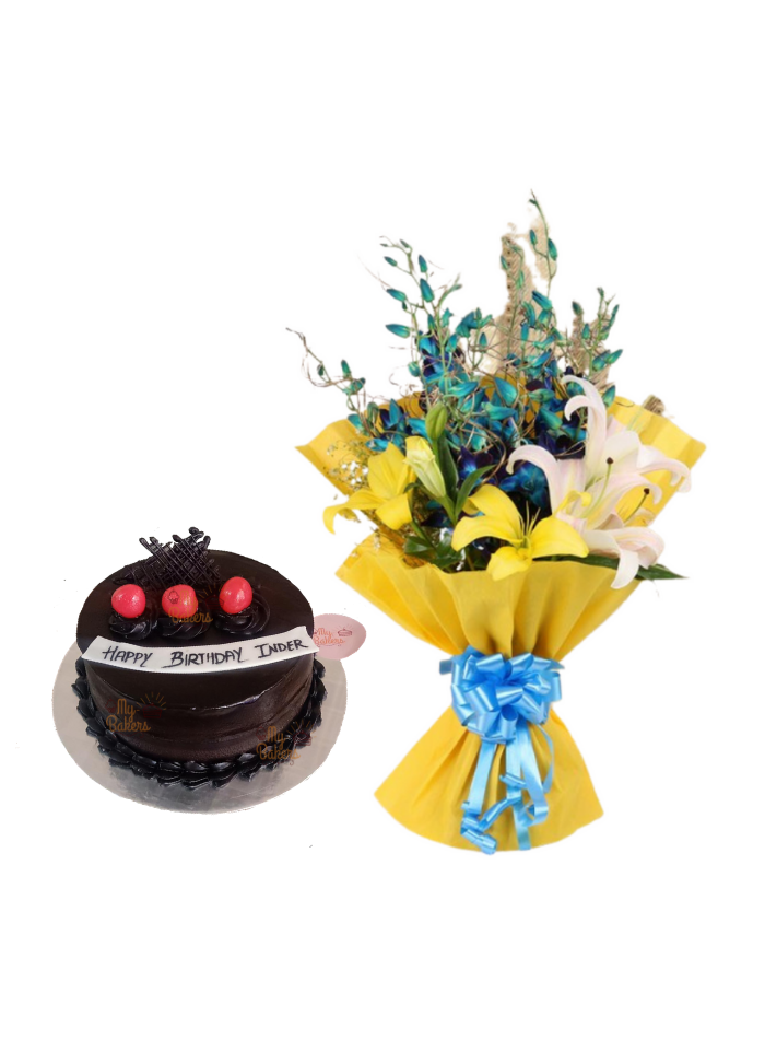 Lily and Orchid Bouquet with Strawberry Chocolate Cake