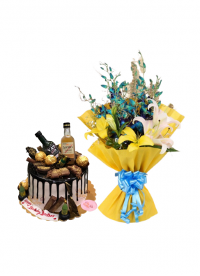 Lily and Orchid Bouquet with Whiskey Cake