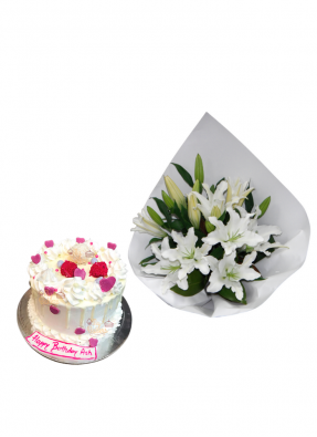 Lily Bouquet with Birthday Cake