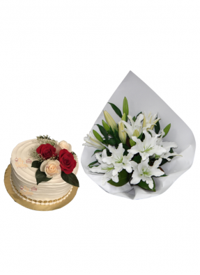 Lily Bouquet with Cake for Loved