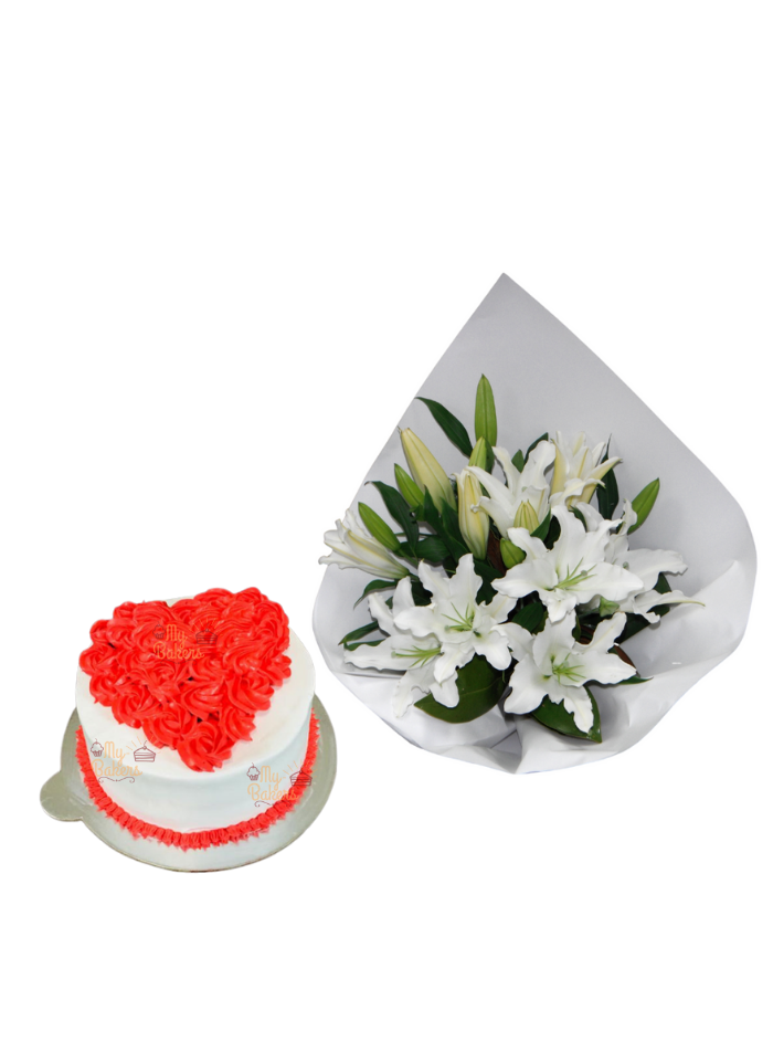 Lily Bouquet with Cake Heart Shape