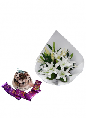 Lily Bouquet with Chocolate Birthday Cake and Chocolate