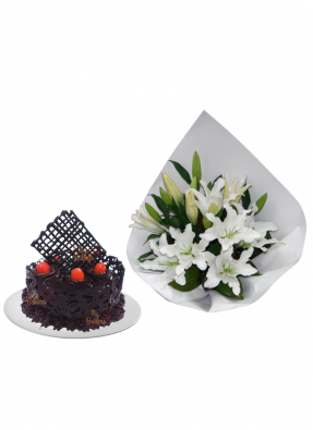 Lily Bouquet with Chocolate Cake Designer