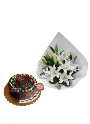 Lily Bouquet with Chocolate Truffle Cake