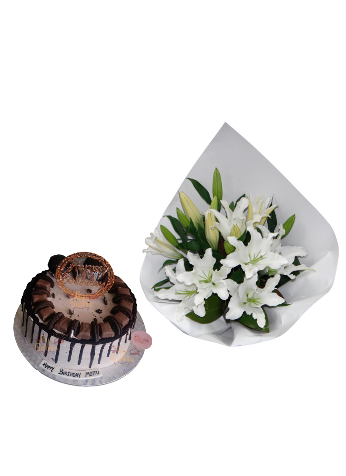 Lily Bouquet with Exclusive Chocolate Oreo Cake
