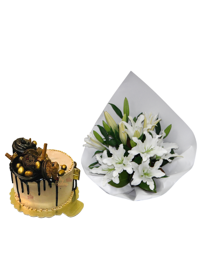 Lily Bouquet with Golden Cake