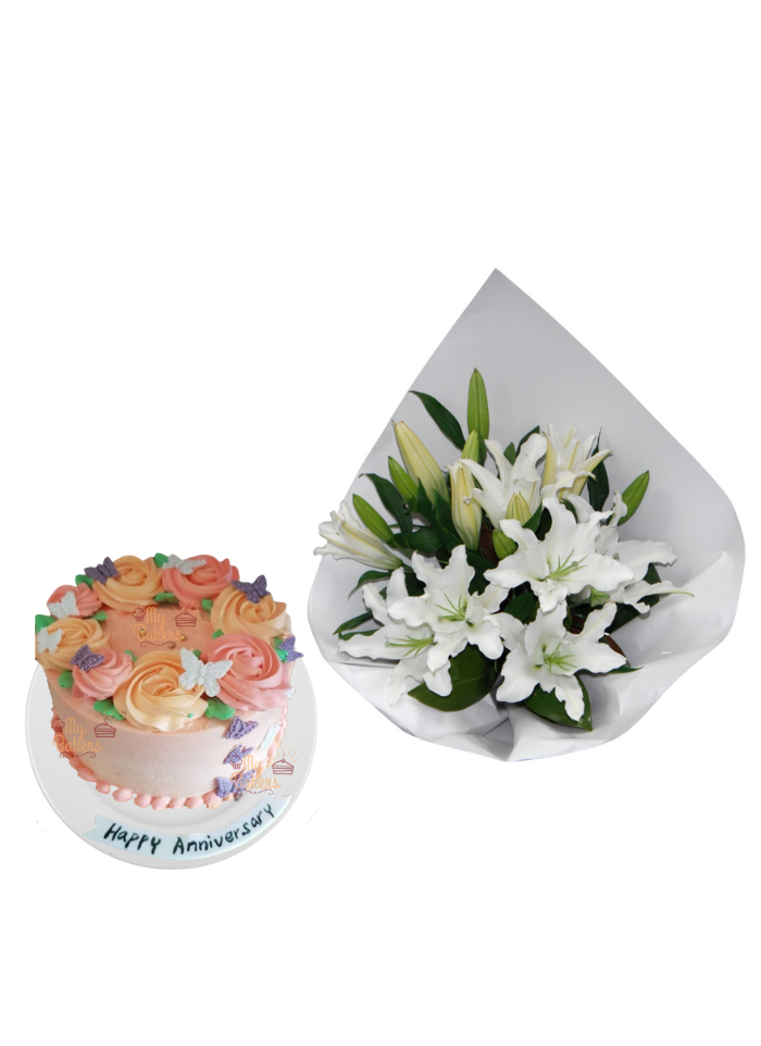 Lily Bouquet with Special Edible Butterfly Cake