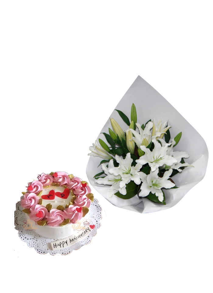 Lily Bouquet with Vanilla Cake