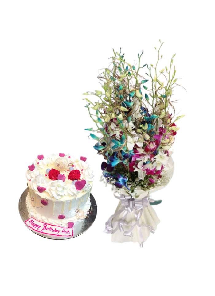 Mix Orchid Bouquet with Birthday Cake