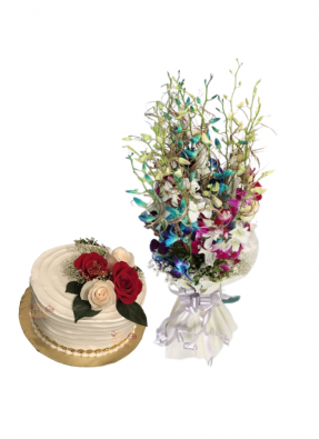 Mix Orchid Bouquet with Cake for Loved