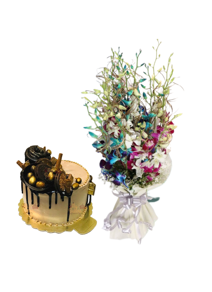 Mix Orchid Bouquet with Golden Cake