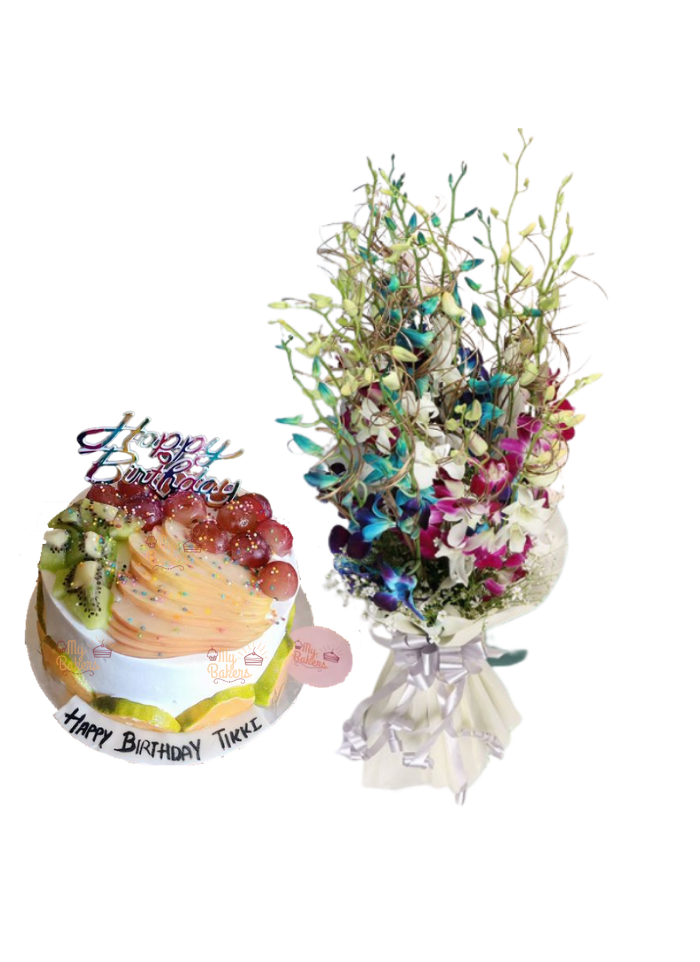 Mix Orchid Bouquet with Mix Fruit Cake